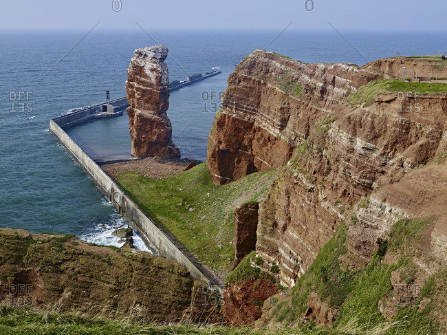 Western cliffs with Langer Anna, Helgoland, Schleswig-Holstein, Germany