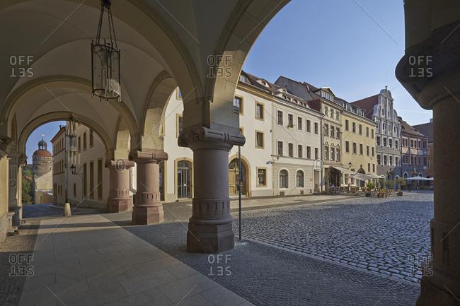 Rathausarkaden am Untermarkt with Nikolaiturm in Gorlitz, Saxony, Germany