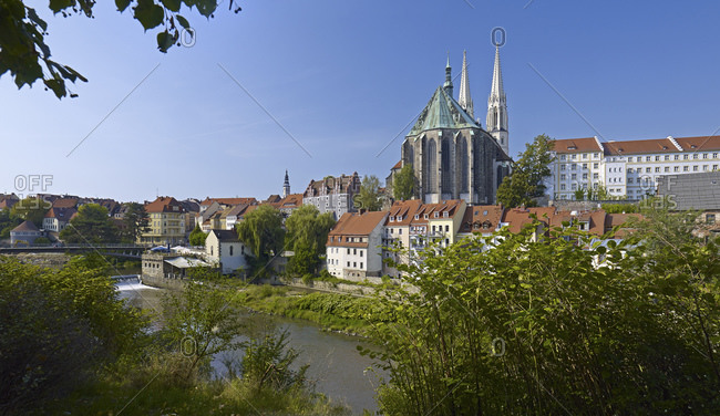 View over the river Neisse to the old town with church St. Peter and Paul in Gorlitz, Saxony, Germany