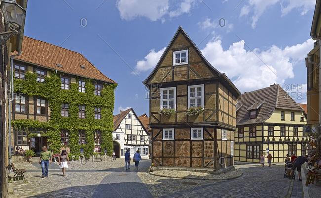 August 8, 2014: Houses in the Finkenherd, Quedlinburg, Saxony-Anhalt, Germany