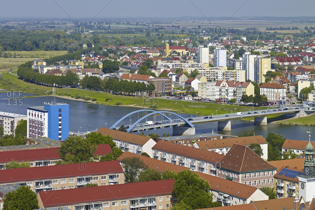 View to the Peace Bridge with Oder in Frankfurt (Oder), Brandenburg, Germany