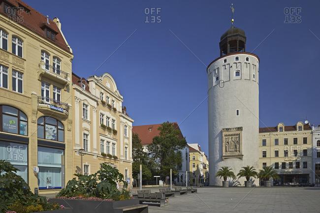 September 7, 2014: Marienplatz and Dicker Turm in Goerlitz, Saxony, Germany