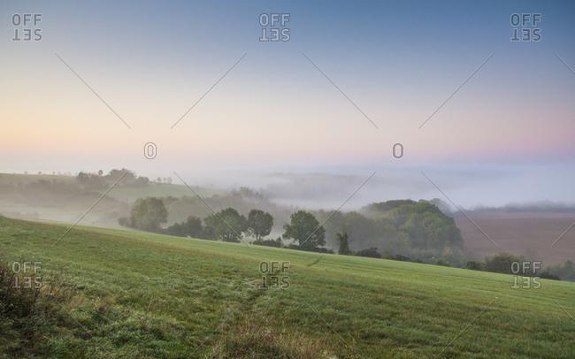 View towards Jena, Cospedaer Grund, near Cospeda, Thuringia, Germany