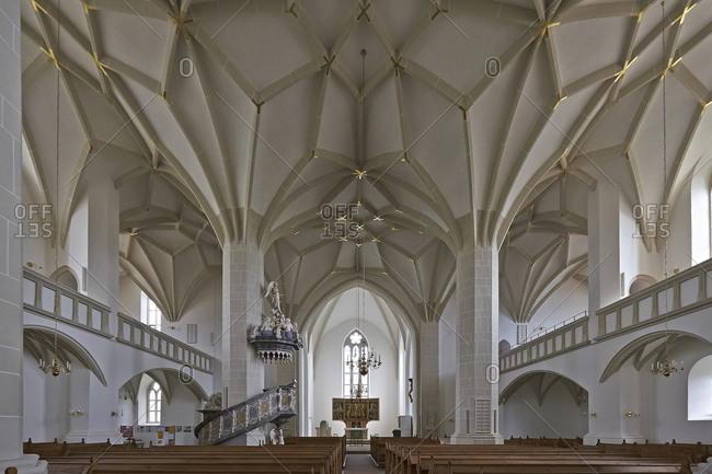 August 22, 2014: Star vault in the St. Johannis church in Plauen, Vogtland, Saxony, Germany