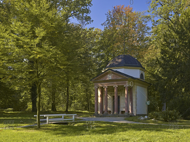 October 4, 2014: Temple of Friendship in the park Schonbusch in Aschaffenburg, Lower Franconia, Bavaria, Germany