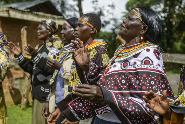 August 9, 2014: Women of the Pokot tribe sing and dance, Kenya