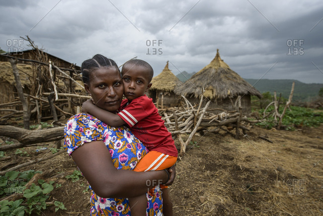 June 11, 2014: Mother and son in their village, northern Ethiopia