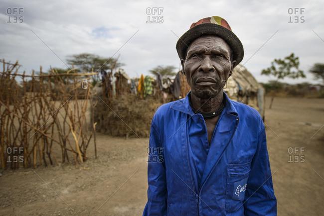 August 1, 2014: A Turkana village chief bears blaumann, Kenya