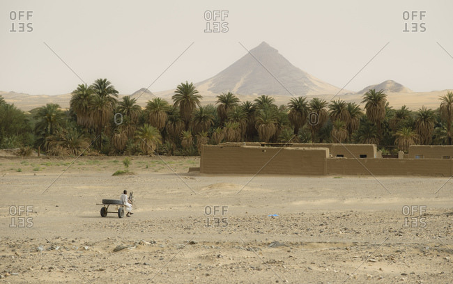 Nubian village along the Nile in the Sahara desert, Sudan