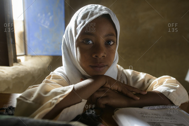 April 23, 2014: Child of a school in central Sahara, Sudan