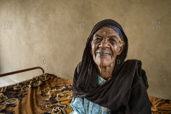 April 23, 2014: Nubian woman with scars on her face to show beauty, Sudan