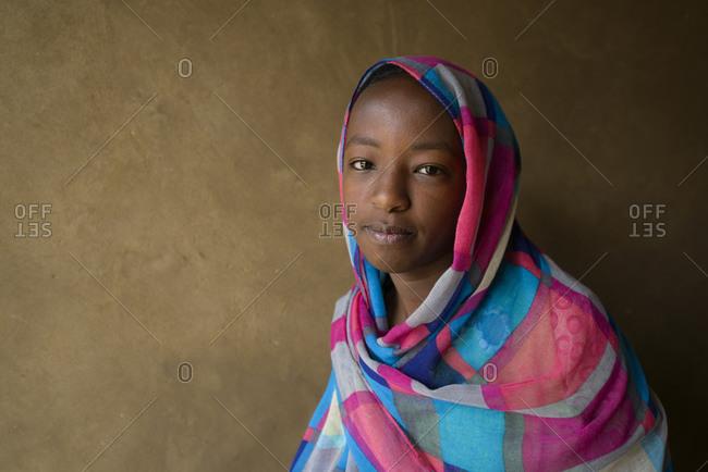 April 23, 2014: Nubian girl in her home in the Sahara, Sudan