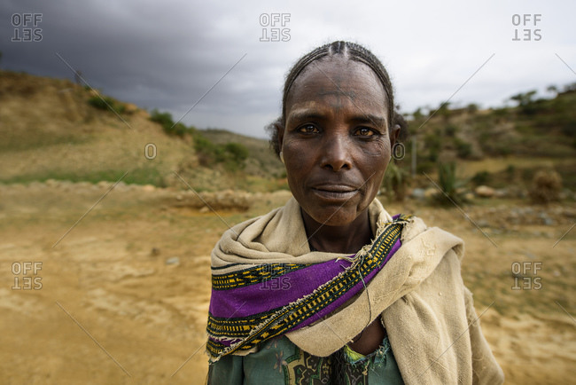 June 26, 2014: Tigrayan woman with typical Ethiopian Orthodox tattoos on forehead, Ethiopia