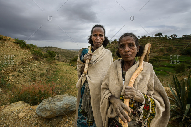June 26, 2014: Tigrayan women with typical Ethiopian Orthodox tattoos on forehead, Ethiopia