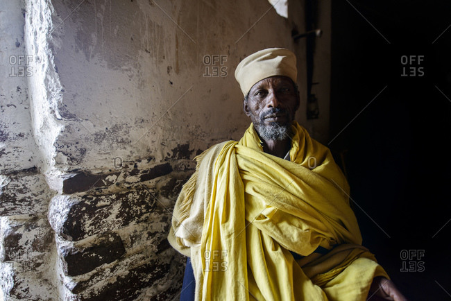 Priest of the Ethiopian Orthodox Church in the Abba Yohanni Rock Church, Tigray, Ethiopia