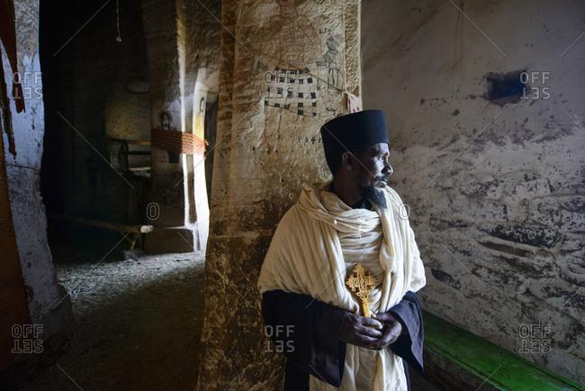 June 26, 2014: Priest of the Ethiopian Orthodox Church in the Abba Yohanni Rock Church, Tigray, Ethiopia