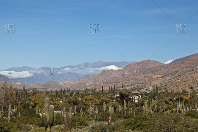 View of the Andean city Tilcara at an altitude of 2,400 m above sea level, Jujuy Province, Argentina, South America