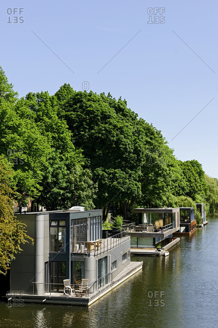 Houseboats on the Eilbek Canal, Eilbek, Hamburg, Germany