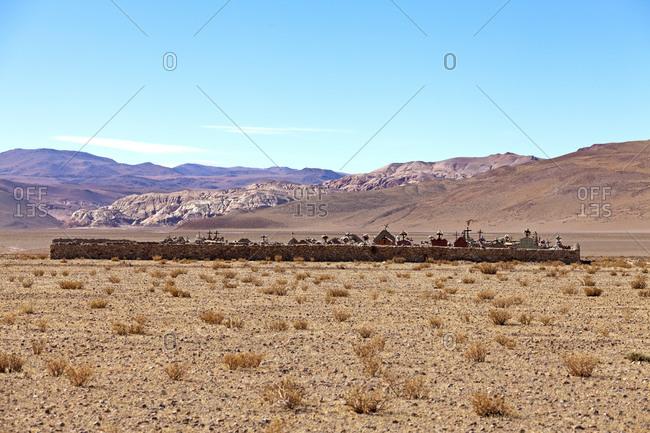 Cemetery in the Argentine Puna Desert, Santa Rosa de los Pastos Grandes, Salta Province, Argentina, South America