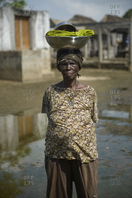 November 28, 2015: Old woman from the floating village Ganvie, Benin, Africa