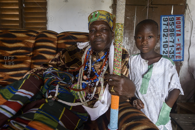 November 28, 2015: The king of Ganvie, a voodoo priest and his fetishes, Benin, Africa