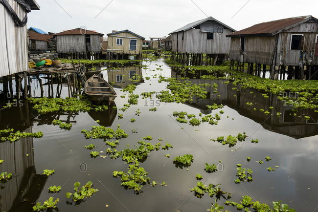 The floating village of Ganvie, Benin, Africa