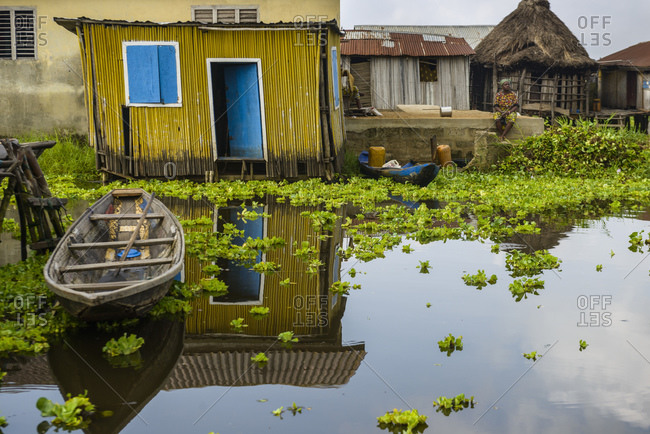 November 28, 2015: The floating village of Ganvie, Benin, Africa