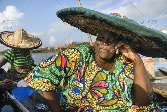 November 28, 2015: Woman from the floating village of Ganvie, Benin, Africa
