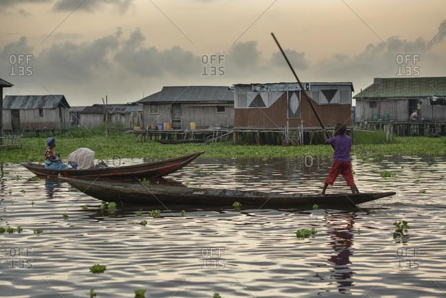 November 28, 2015: Residents of the floating village of Ganvie, Benin, Africa