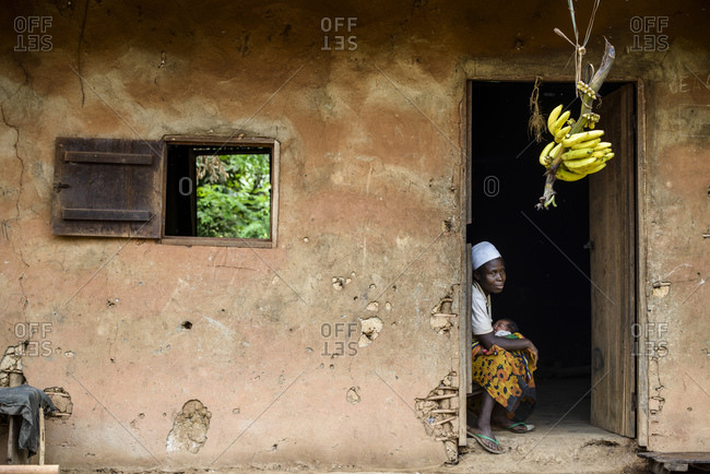 October 20, 2015: Woman with baby, rural life in Cameroon, Africa