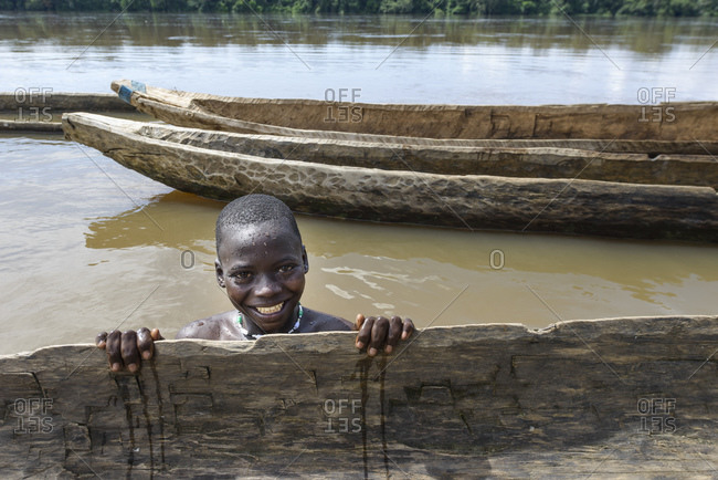 October 5, 2015: Swimming in the Sangha River, Central African Republic, Africa