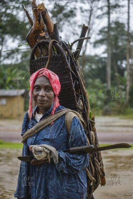 September 23, 2015: Woman with basket, Gabon, Central Africa