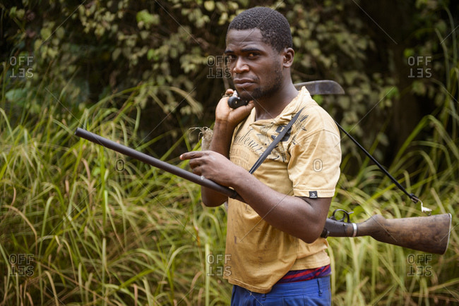 September 15, 2015: Poachers in the equatorial rainforest, Gabon, Central Africa