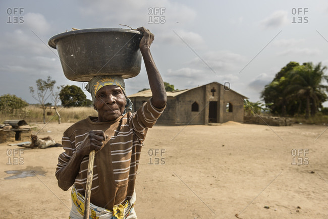 August 2, 2015: Angolan woman in a village in the province of Zaire, Angola, Africa