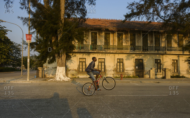 July 5, 2015: Cyclists in Benguela, Angola, Africa