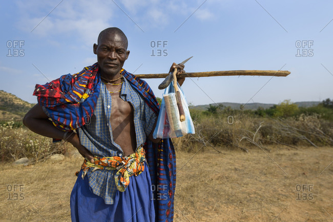 July 3, 2015: Man, indigenous tribal group from the province of Cunene, Angola, Africa