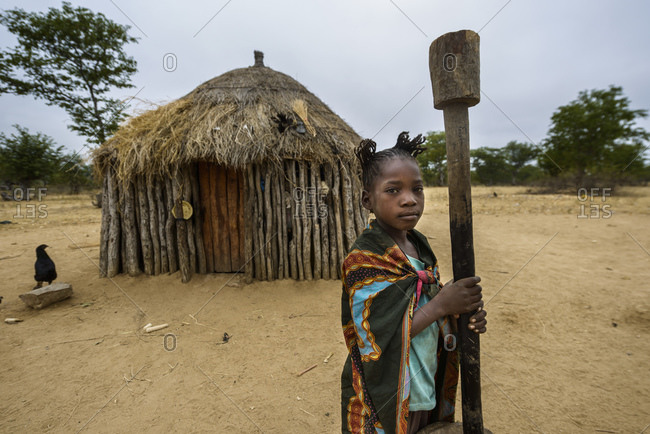 July 3, 2015: Girls, indigenous tribal groups in the province of Cunene, Angola, Africa