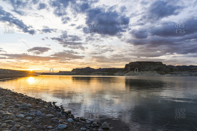 Sunset on Lone Rock Beach, Page, Lake Powell, Colorado River, Arizona, USA