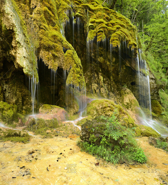 The Schleierfalls on the Ammer, moss covered waterfall, Ammergau Alps, Bavaria, Germany
