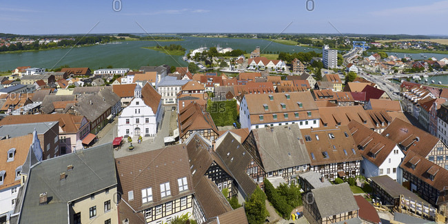 Panoramic view from the Petrikirche church over the oldtown to the Peenestrom, Wolgast, Mecklenburg-Western Pomerania, Germany