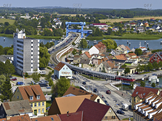 View from the Petrikirche to the bascule bridge over the Peene river, Wolgast, Mecklenburg-Western Pomerania, Germany
