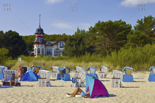 July 24, 2016: House by the sea with a beach in Ostseebad Zinnowitz, Usedom, Mecklenburg-West Pomerania, Germany