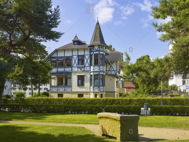 Schwalbennest house on the promenade in the Baltic Sea resort of Zinnowitz, Mecklenburg-West Pomerania, Germany