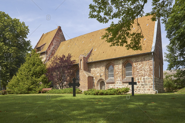 Village church of Mellenthin, Usedom Island, Mecklenburg-West Pomerania, Germany