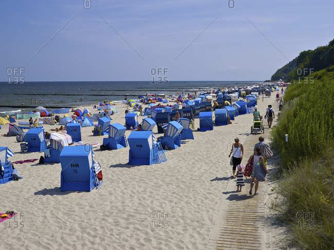 July 23, 2016: Koserow Beach, Usedom, Mecklenburg-West Pomerania, Germany