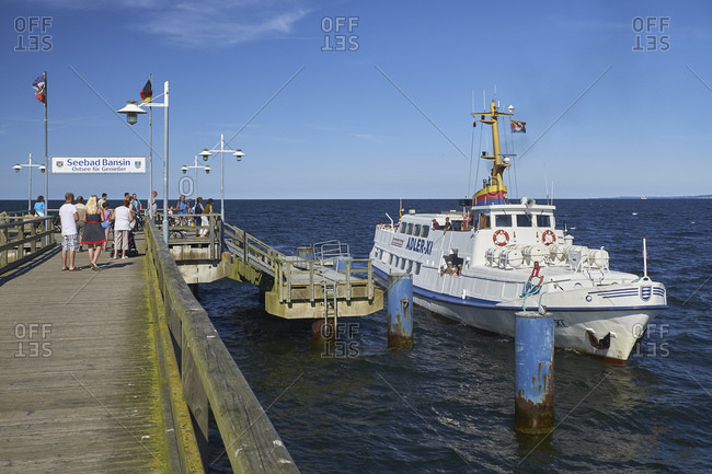 July 22, 2016: Pier with ship Adler, Ostseebad Bansin, Usedom, Mecklenburg-West Pomerania, Germany