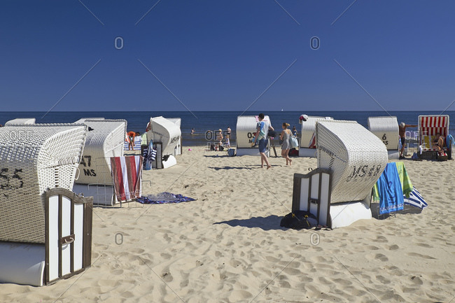 July 22, 2016: The beach at uckeritz, Usedom, Mecklenburg-West Pomerania, Germany