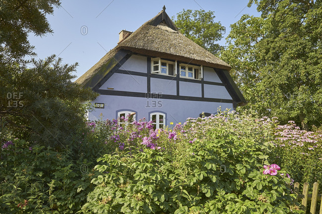 Thatched cottage in Quilitz in Lieper Winkel, Usedom, Mecklenburg-West Pomerania, Germany