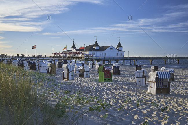 July 22, 2016: Pier with beach, Ostseebad Ahlbeck, Usedom, Mecklenburg-West Pomerania, Germany