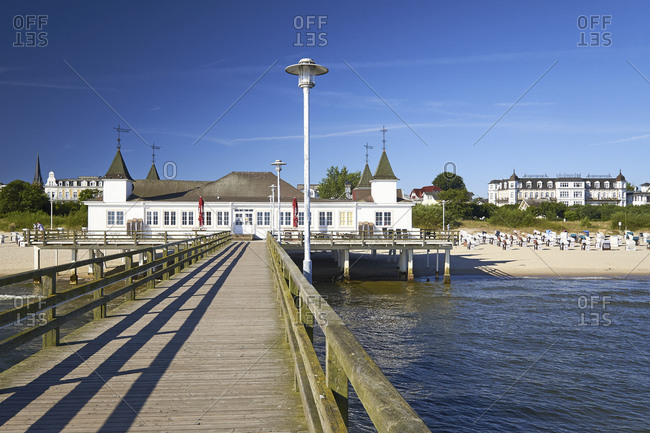 July 22, 2016: Pier in the Baltic resort of Ahlbeck, Usedom Island, Mecklenburg-West Pomerania, Germany